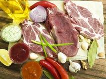 Сырое мясо на гайках соуса перца, перец залива chil, чеснок, натуральные продукты Стоковая Фотография RF