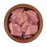 Сырое мясо отрезано в части в коричневой плите стоковое фото rf
