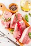 Сырое мясо, стейки свинины Стоковое Фото