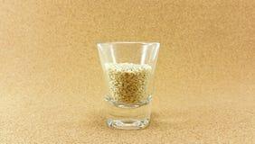 Сырой белый сезам в стопке Стоковая Фотография