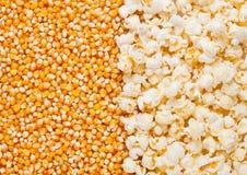Сырцовая золотая сладостной плита семян мозоли и попкорна половинная Стоковое фото RF
