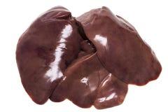 Сырцовая куриная печень изолированная на белой предпосылке Стоковая Фотография