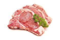 Сырцовая отбивная котлета поясницы свинины стоковые изображения rf