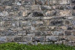 Сырцовая предпосылка каменной стены и зеленая трава Стоковое Фото
