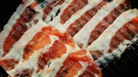 Сырцовое мясо свинины отрезая тонко на плите стоковое изображение rf