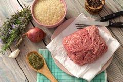 Сырцовое, свежее семенить мясо на плите, специи, рис и овощи Стоковые Фото