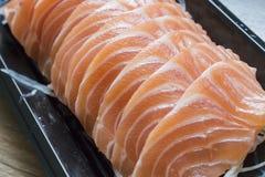 Сырцовое свежее Salmon мясо сасими, конец-вверх Стоковое Изображение