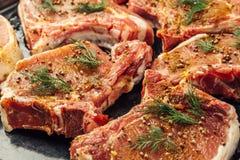 Сырцовое сырое сочное мясо стейка с укропом, перцем и специями на стороне Стоковые Фотографии RF