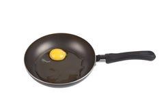 Сырцовое яичко в сковороде изолированной на белой предпосылке стоковое изображение rf