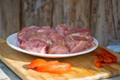 Сырцовое kebab от мяса на деревянной доске с овощами Стоковая Фотография