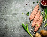 Сырцовое kebab с зелеными луками и томатным соусом Стоковые Изображения RF