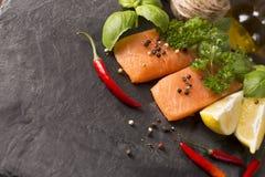 Сырцовое Salmon филе с лимоном Стоковое Фото