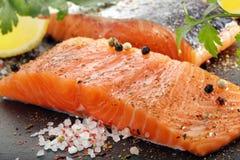 Сырцовое salmon филе с травами и специями Стоковые Фото