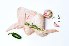 Сырцовые крыла цыпленка изолированные на белизне Стоковые Фото