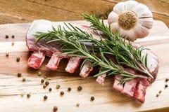 Сырцовые нервюры овечки с розмариновым маслом, перцем и чесноком на деревянной доске Стоковые Изображения RF