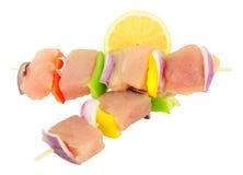 Сырцовые свежие рыбы и сладостный перец Kebabs Стоковые Изображения