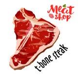 Сырцовый вектор стейка t-косточки свежего мяса изолированный на белизне Значок свежего мяса Стоковое Фото