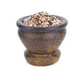 Сырцовый органический коричневый рис Стоковые Фотографии RF