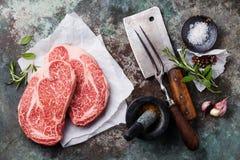 Сырцовый стейк Ангуса свежего мяса Стоковые Фотографии RF
