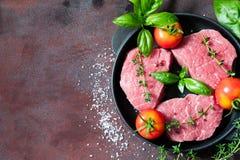 Сырцовый стейк говядины на предпосылке ржавчины с оливковым маслом и специями Стоковые Фотографии RF
