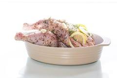 Сырцовый цыпленок marinated с специями Стоковое Изображение