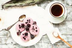 Сырцовый чизкейк ягоды vegan при разделанный кокос, Стоковые Изображения RF