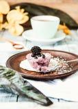 Сырцовый чизкейк ягоды vegan при разделанный кокос, Стоковое фото RF