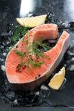 Сырцовый salmon стейк с укропом и лимоном на льде, вертикальном Стоковое фото RF