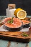 1 сырцовый salmon стейк Стоковое Фото