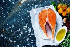 1 сырцовый salmon стейк Стоковые Изображения RF