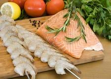 сырцовый salmon шримс Стоковые Изображения RF