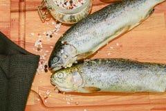 2 сырцовых радужной форели с специями на деревянной доске Здоровая еда и Dieting концепция Конец-вверх Стоковое Изображение
