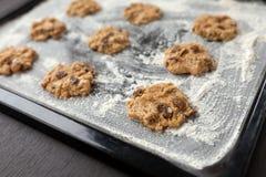 Сырые печенья на подносе выпечки стоковая фотография
