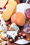 Сыры с высушенными плодоовощами и гайками Стоковая Фотография RF
