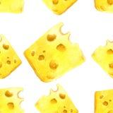 Сыр акварели безшовный иллюстрация вектора