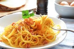 Сыр бекона Италии carbonara alla макаронных изделий Стоковое фото RF