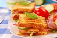 сыр бекона toasts томат Стоковое Изображение
