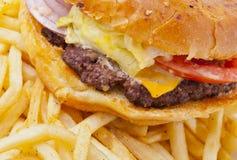 сыр бургера есть fries нездоровые Стоковое фото RF