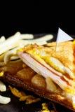 Сыр ветчины Sandwish с frenchfries на деревянной плите Стоковое Фото