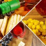 Сыр виноградины вина коллажа Стоковое фото RF