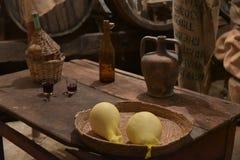 Сыр - вино Стоковые Фото