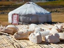 Сыр засыхания солнца Монгол Aaruul или Gurt с ger в backgroun Стоковое фото RF