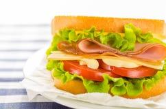 Сыр и сэндвич с ветчиной с свежими овощами и майонезом стоковые фото