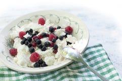 Сыр коттеджа с ягодами Стоковые Фото