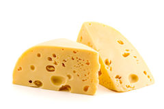 Сыр на белой изолированной предпосылке, Стоковое Изображение