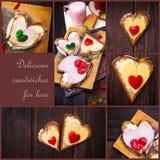 Сыр перца коллажа прослаивает сердце деревянного стола влюбленности Стоковое Изображение RF