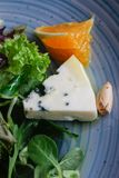 Сыр рокфора отрезал вне с апельсинами и зелеными цветами Закуска, салаты еда здоровая Restaurand и домодельная еда стоковая фотография rf