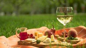 Сыр с стеклом белого вина и плодоовощ Стоковое Изображение