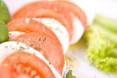 Сыр томата и моццареллы с зелеными базиликом и салатом Стоковые Изображения RF