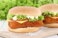 Сыр томатов гамбургера fishburger бургера рыб Стоковая Фотография RF
